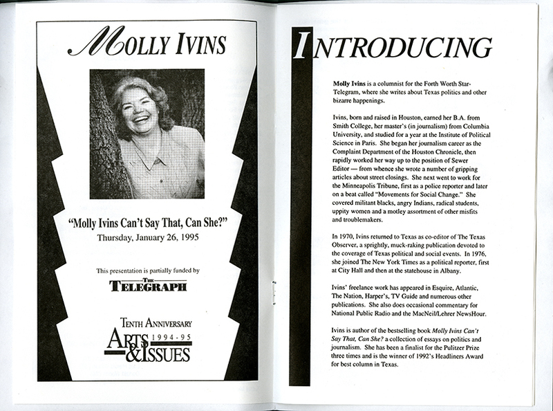 Program for Presentation of Molly Ivins