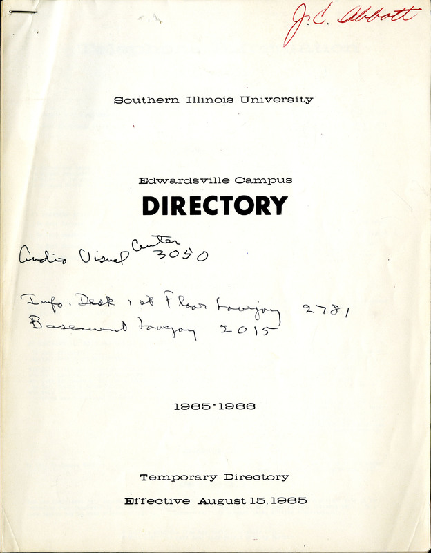 Phone Directory Temporary Directory for 1965-1966