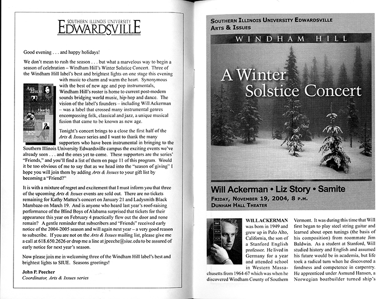 Program for Windham Hill Winter Solstice Tour