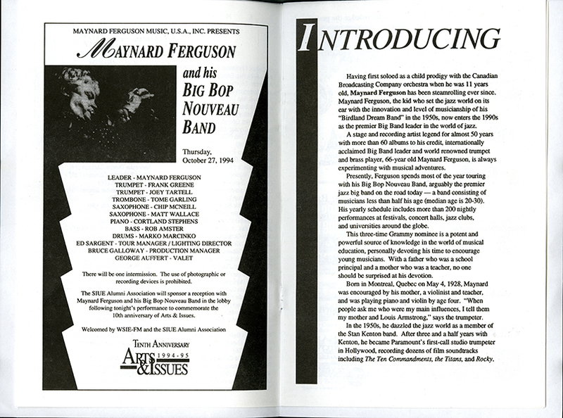 Program for Performance of Maynard Ferguson