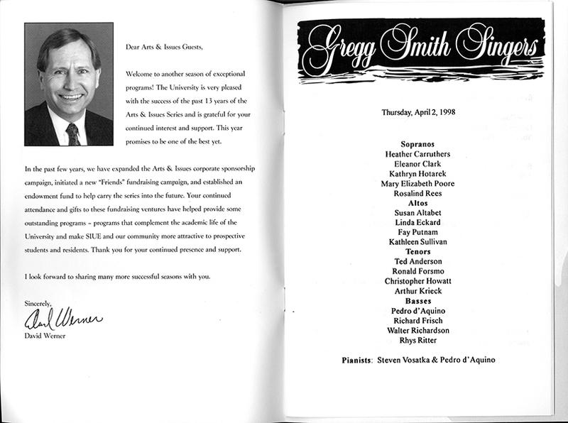 Program for the Gregg Smith Singers
