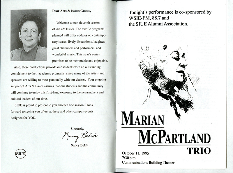 Program for Marian McPartland Trio