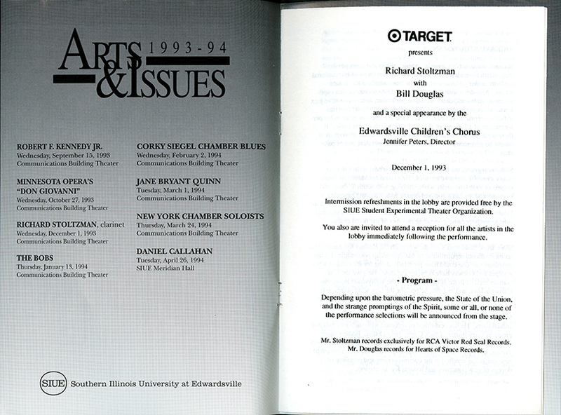Program for Performance of Richard Stoltzman with Bill Douglas