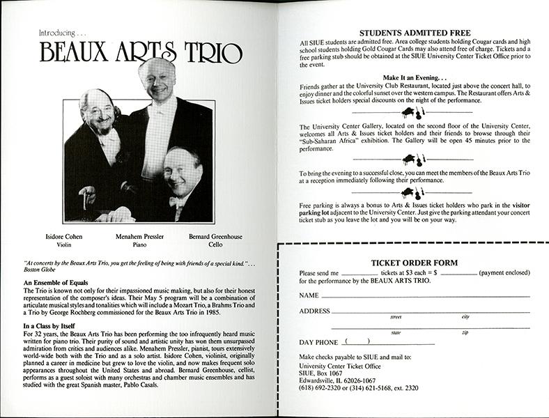 Announcement for Beaux Arts Trio