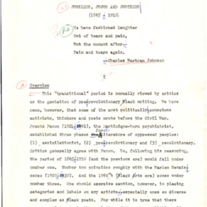Editors proof, Drumvoices: The Mission of Afro-American Poetry: A Critical History, Chapter IV. Jubilees, Jujus, and Justices, typed with handwritten edits, p. 130-207