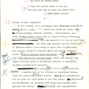 Editors proof, Drumvoices: The Mission of Afro-American Poetry: A Critical History, Chapter II. The Black and Unknown Bards, typed with handwritten edits, p. 27-69